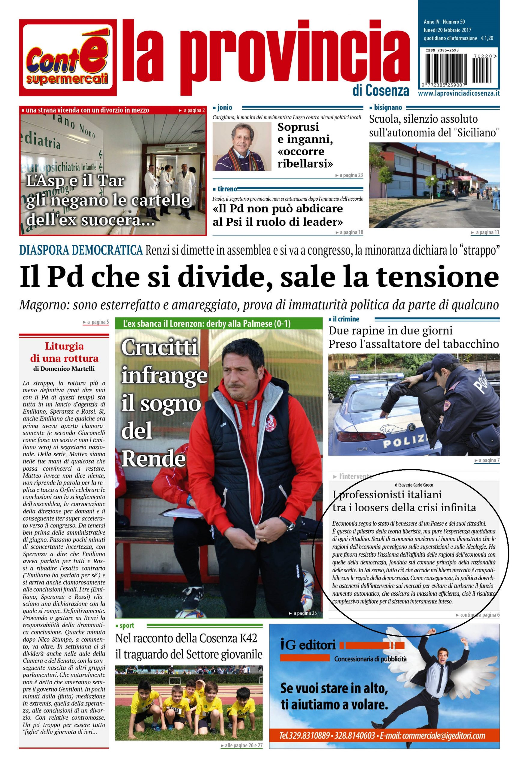 I Professionisti italiani tra i loosers della crisi infinita