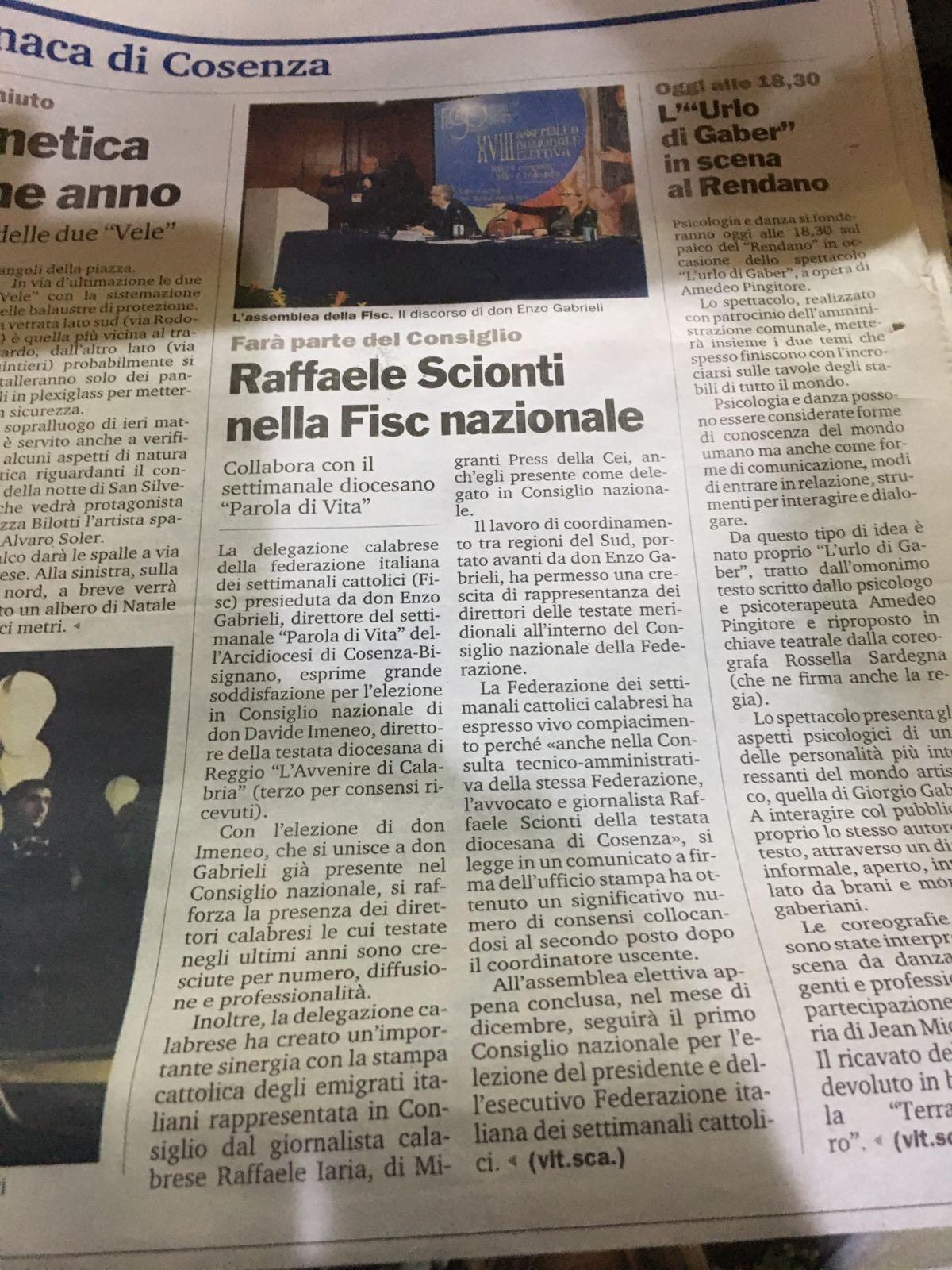 Raffaele Scionti, senior partner di SLCV, eletto ai vertici FISC